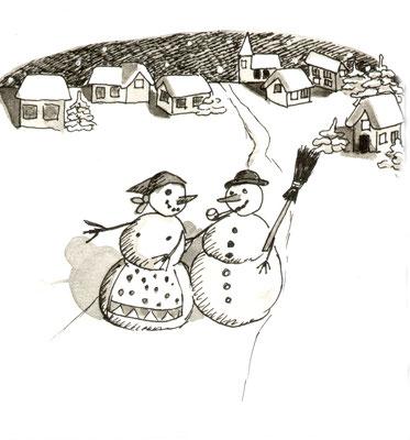 Illustration, Comics, lustig, witzig, Schnemann, Schneefrau, spazieren, Schnee, Dorf