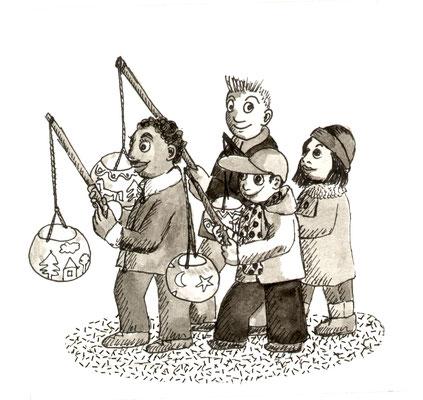 Illustration, Comics, lustig, witzig, Räbenlichter, Räbeliechtli, Umzug, Rüben, Licht, Kinder,