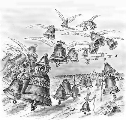 Les cloches vont à Rome, d'après une gravure du XIXe