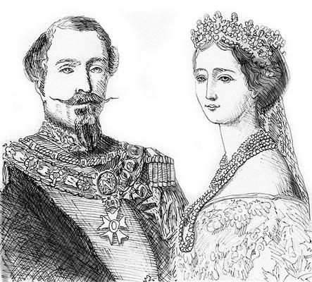 Napoléon III et Eugénie de France, d'après une gravure d'époque