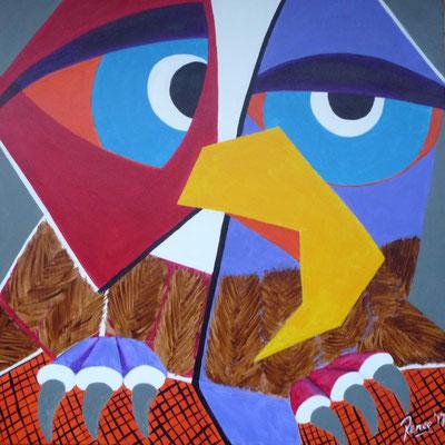 Uil, geïnspireerd door Pablo Picasso, 2017  50x50