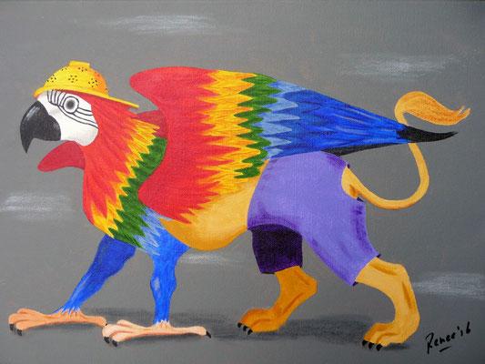 Papageeuw, geïnspireerd door Jeroen Bosch, 2016 Acrylverf 30x40