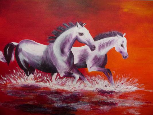 Twee paarden, 2014  50x70