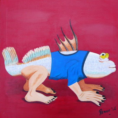 Modderkruiper, geïnspireerd door Jeroen Bosch, 2016  30x30