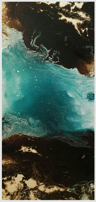 encre de vitrail sur toile. 50x100 cm.River.