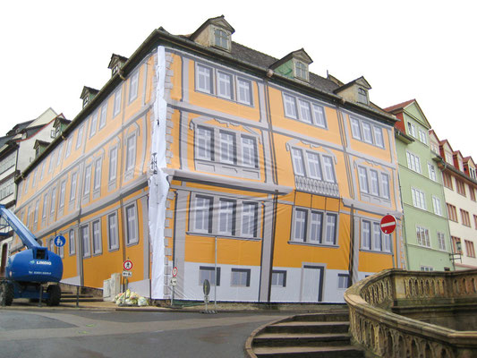 Einhüllung Gebäude Wasserkunst Oberer Hauptmarkt Gotha