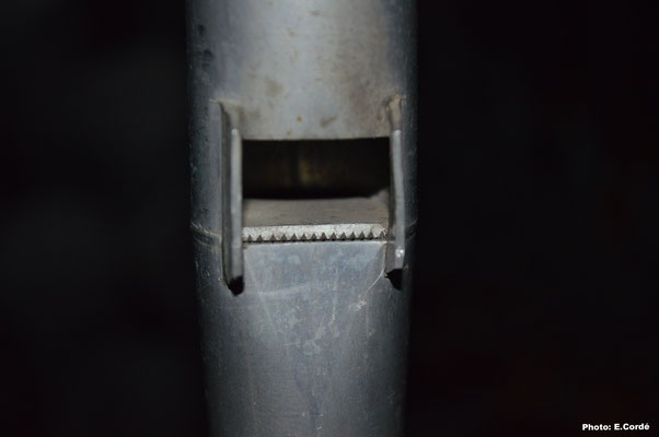 Détail d'une bouche du Lieblich Gedackt 8',  remarquez la hauteur de bouche et la lèvre supérieur non aplatie