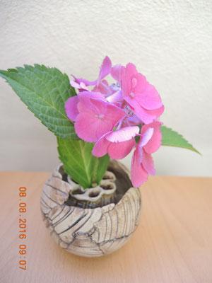 Vase mit Blumen- Steckstein