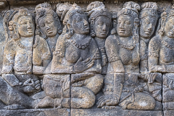 Bajorrelieve / Bas-relief. Borobudur temple. Central Java. Indonesia 2018
