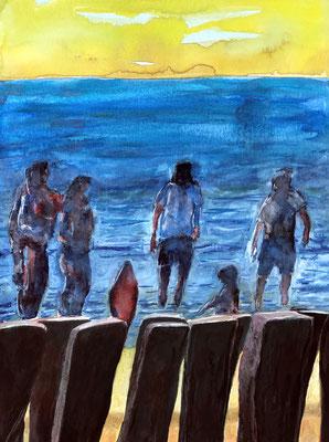DOMBURG Aquarell auf Papier - 48 x 36 cm