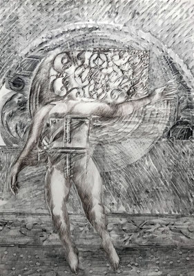 ANGEL Graphit und Rötel auf Papier - 70 x 50 cm