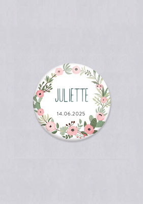 badge champêtre fleuri mariage