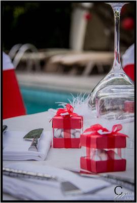 décoration mariage rouge et blanc