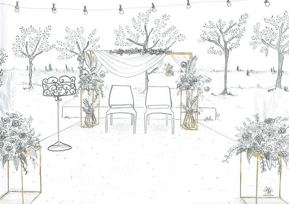 Croquis décoratrice mariage Wedding Designer Montpellier Nîmes Avignon Hyères