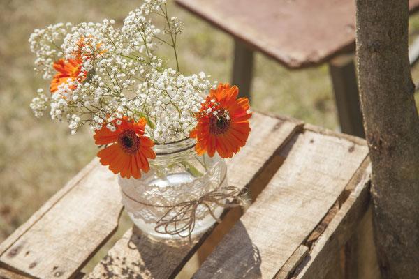 Pot verre dentelle mariage champêtre rétro