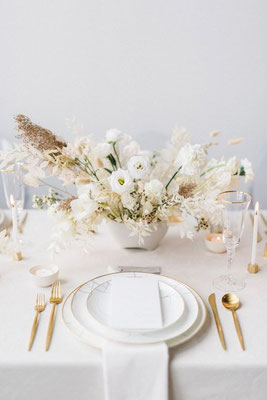 Décoration table minimaliste Mariage neutre naturel