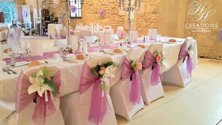 décoration mariage salle de réception romantique lilas rose