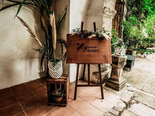 Panneau de bienvenu Mariage terracotta rustique