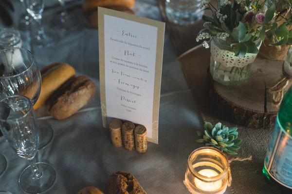 décoration mariage champêtre table menu