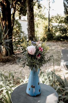 broc champêtre mariage fleurs