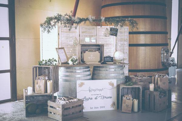 espace livre d'or mariage champetre chic