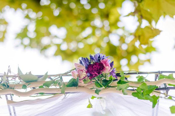 Décoration arche fleurs mariage romantique