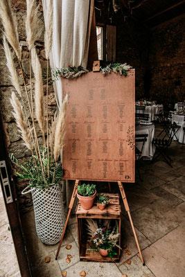 décoration plan de table mariage bois
