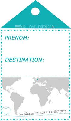 étiquette prénom mariage voyage turquoise