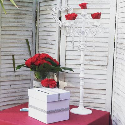 urne strass et roses rouge