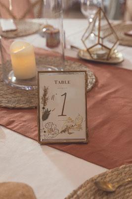 numéro de  table mariage exotique boho chic