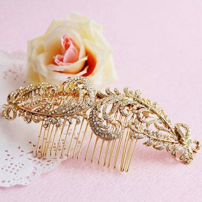 peigne mariée dorée vintage