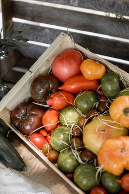 légumes cagettes mariage champêtre