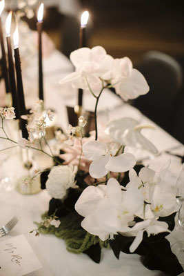 Décoration table mariage noir et blanc