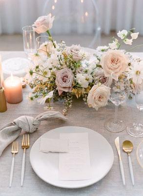 Décoration table mariage minimaliste romantique