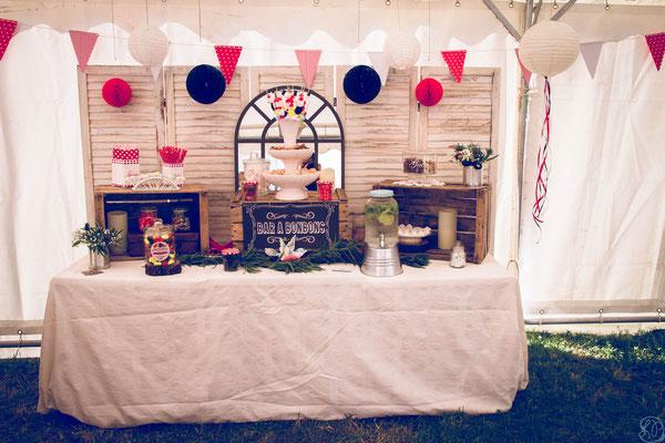 Candy bar décoration mariage guinguette rétro vintage