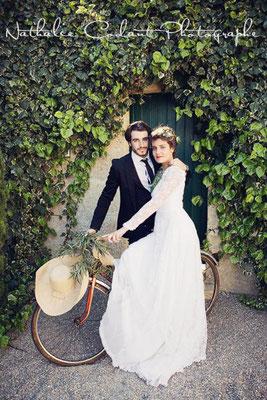 Mariage vélo ancien rétro vintage romantique