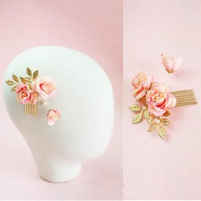 barrette cheveux dorée et rose