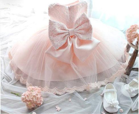 robe rose baptême cérémonie fille