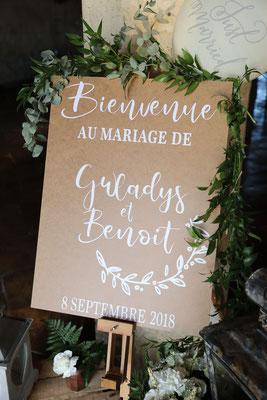 panneau pancarte bois mariage champêtre chic