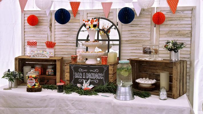 candy bar bonbons Haribo décoration vichy guinguette rétro