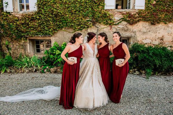 Demoiselles d'honneurs mariage terracotta