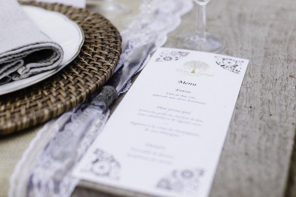 Création menus mariage dentelle