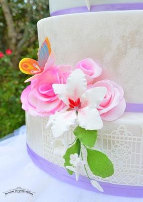 Fleurs sucre gâteau mariage