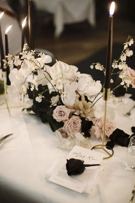 Décoration centre de table mariage noir et blanc