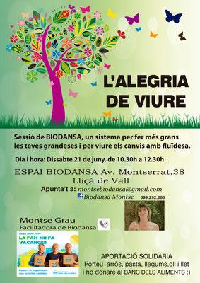 """Biodansa Montse. Taller  """"L'alegria de Viure"""""""
