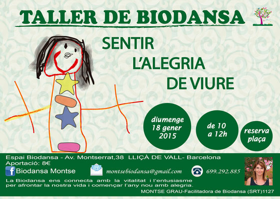 """Biodansa Montse. Taller """"Sentir la alegría de vivir"""""""