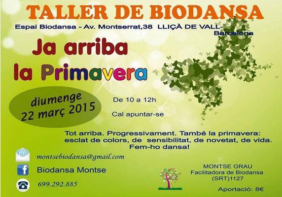 "Biodansa Montse. Taller ""Ya llega la Primavera"""
