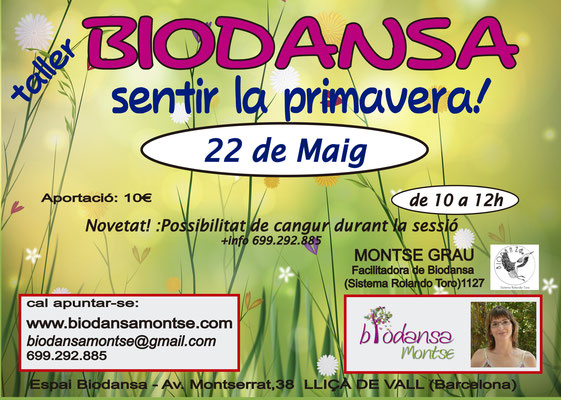 """Biodansa Montse:  Taller """"Sentir la primavera"""""""