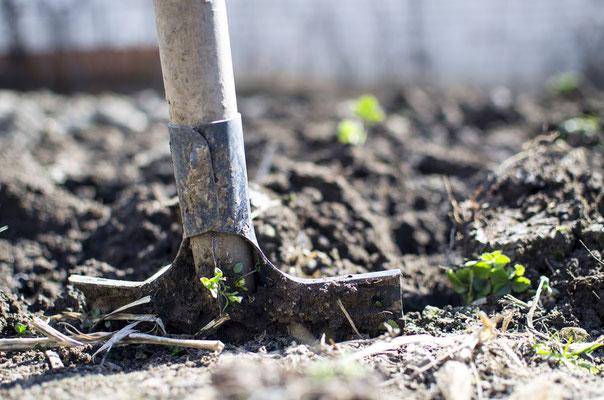 Umweltgerechtes Verhalten im Garten_Graben_Werkzeug