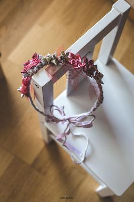 Couronne des fleurs éternelles en fleurs kanzashi et origami, rouge, rose et blanc par La mariée en fleur